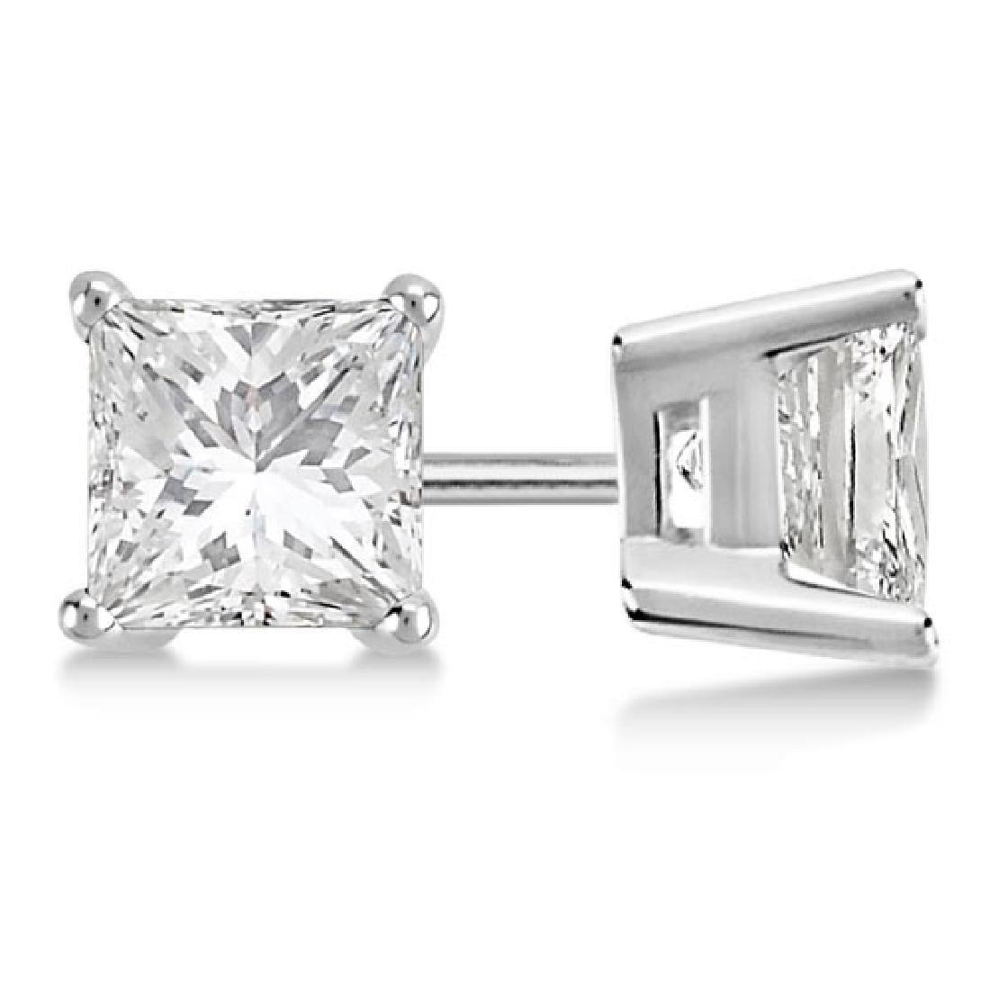 Certified 1.05 CTW Princess Diamond Stud Earrings E/SI2