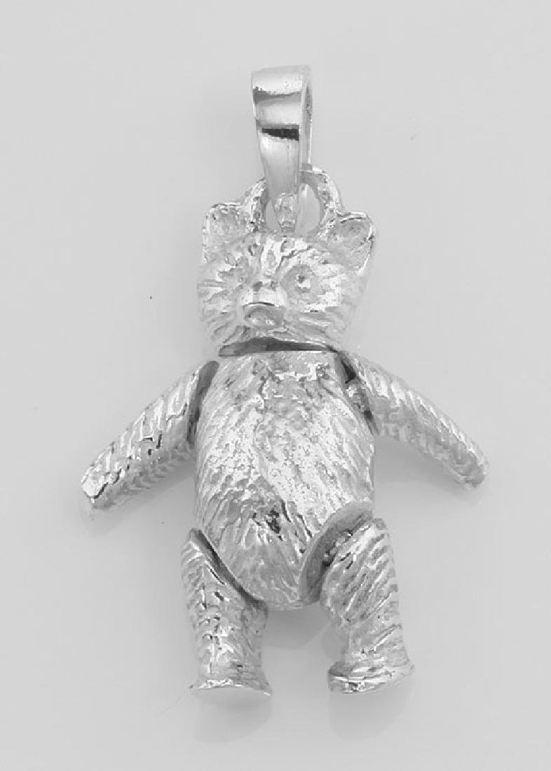 Moveable Teddy Bear Pendant Charm - Movable - Sterling