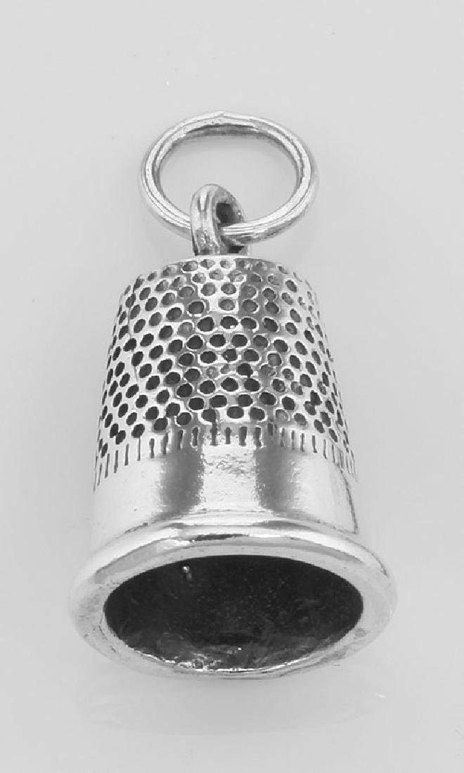 Cute Thimble Sewing Charm or Pendant Made in Fine Sterl
