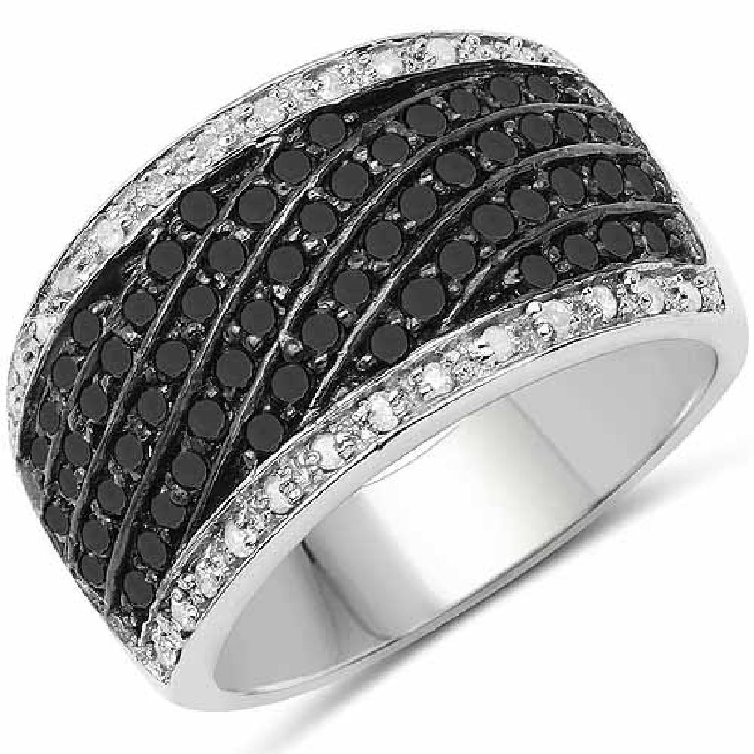 0.79 Carat Genuine Black Diamond and White Diamond .925