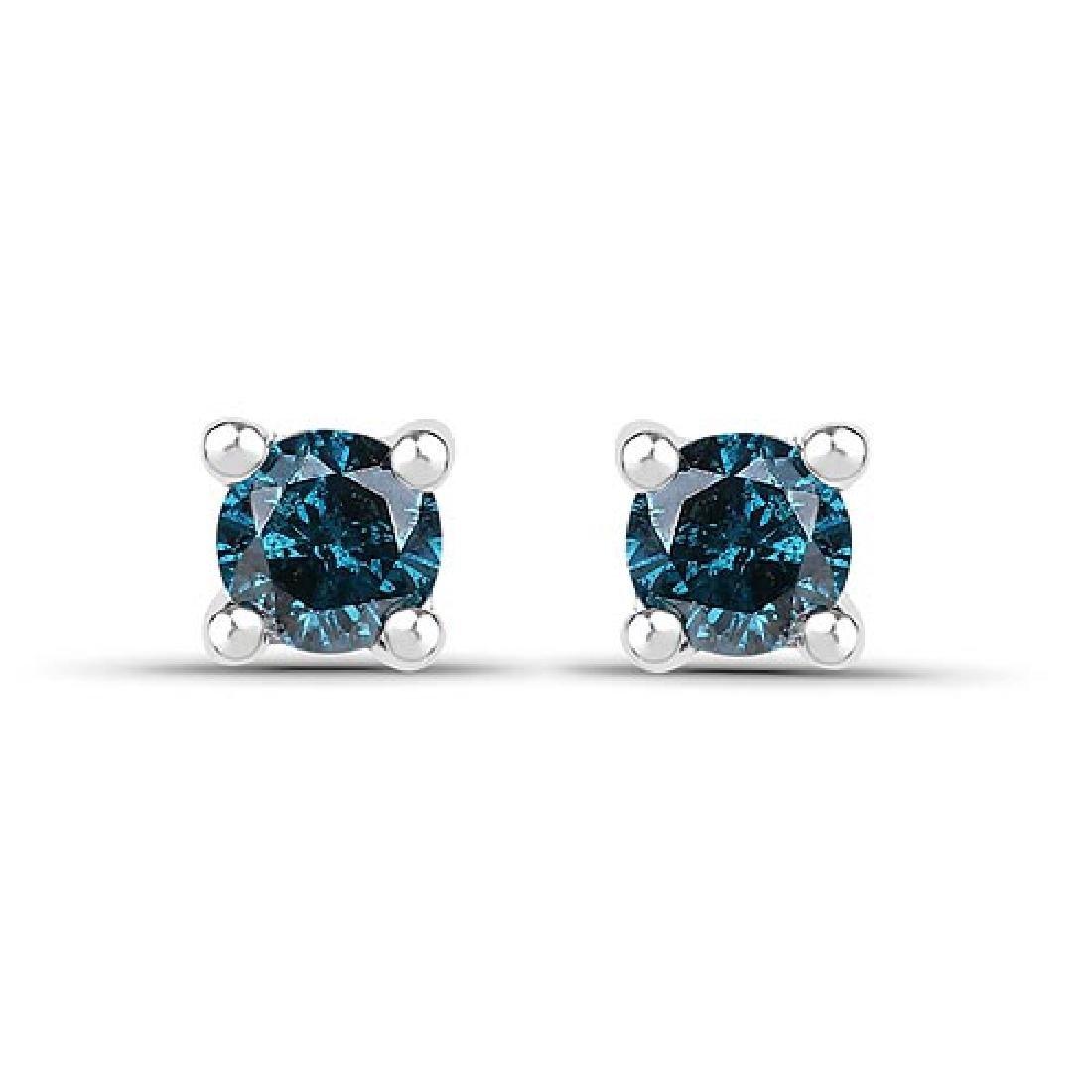 0.20 Carat Genuine Blue Diamond .925 Sterling Silver Ea