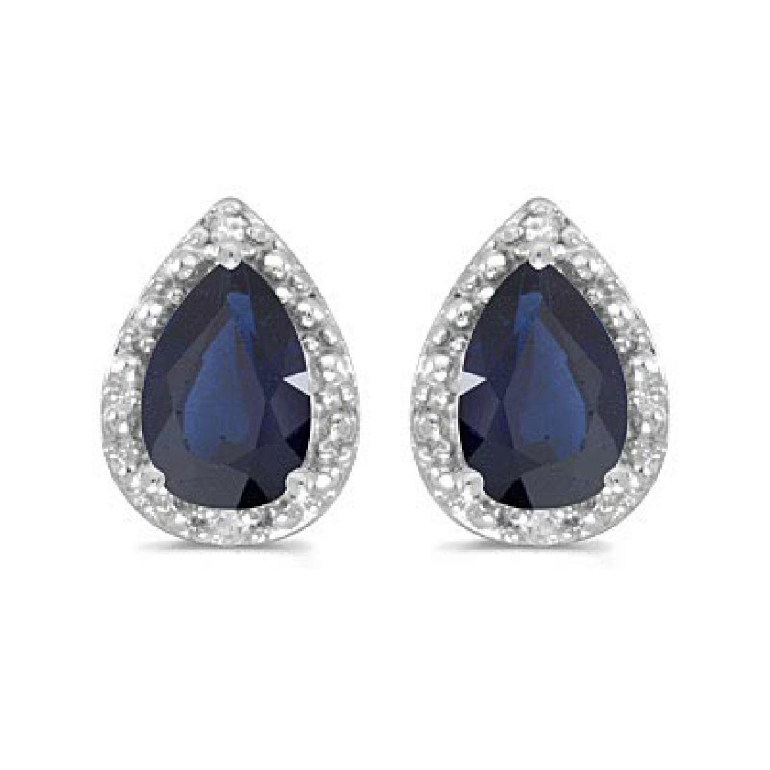 Pear Blue Sapphire and Diamond Stud Earrings 14k White