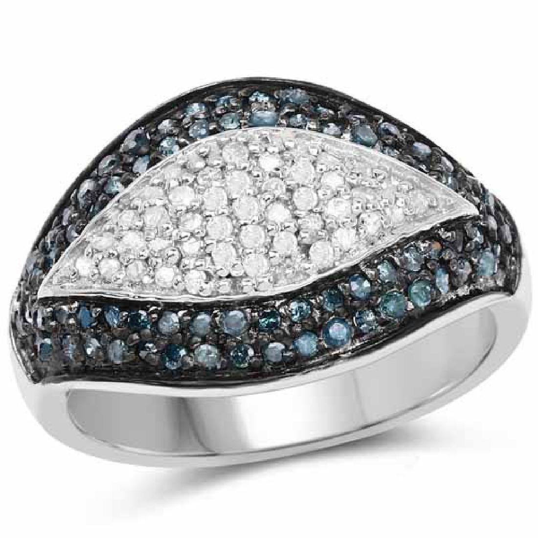 0.50 Carat Genuine Blue Diamond and White Diamond .925