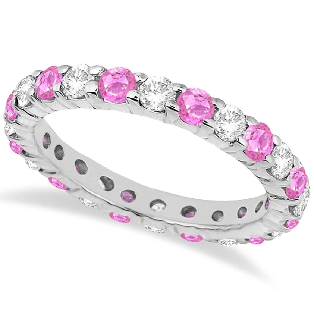 Eternity Diamond and Pink Sapphire Ring Band 14k White