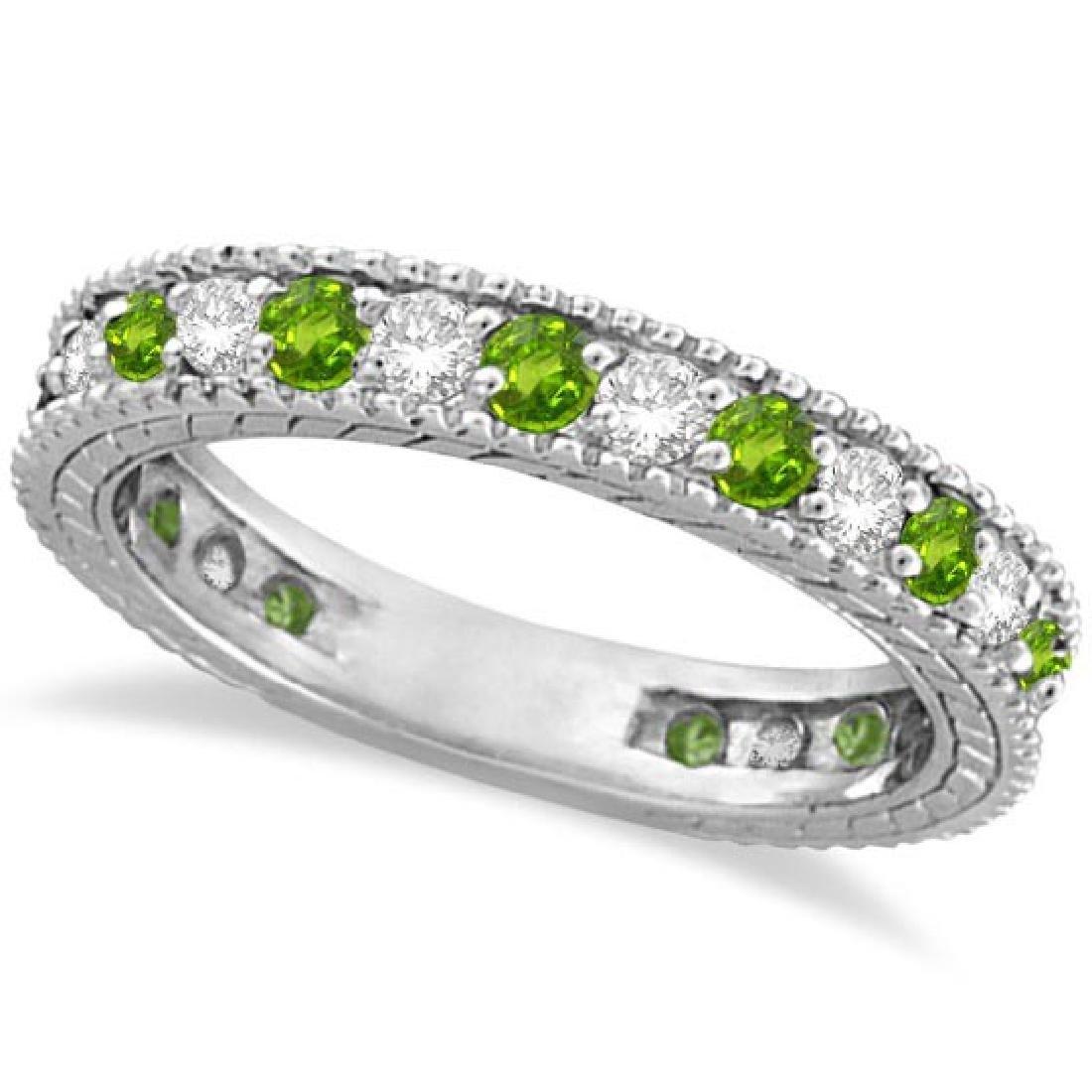 Diamond and Peridot Eternity Ring Band 14k White Gold (