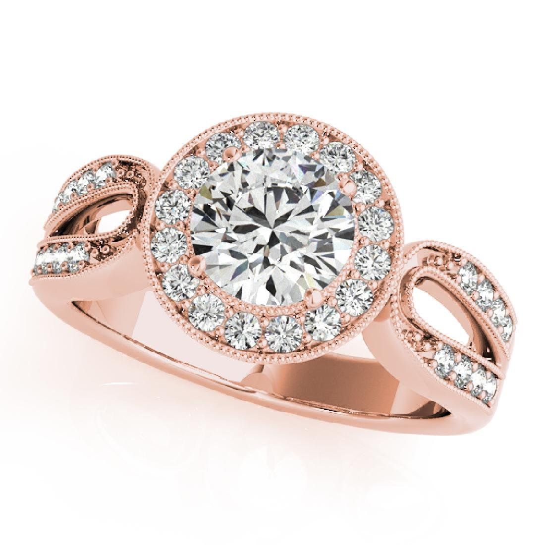 CERTIFIED 18K ROSE GOLD .92 CT G-H/VS-SI1 DIAMOND HALO