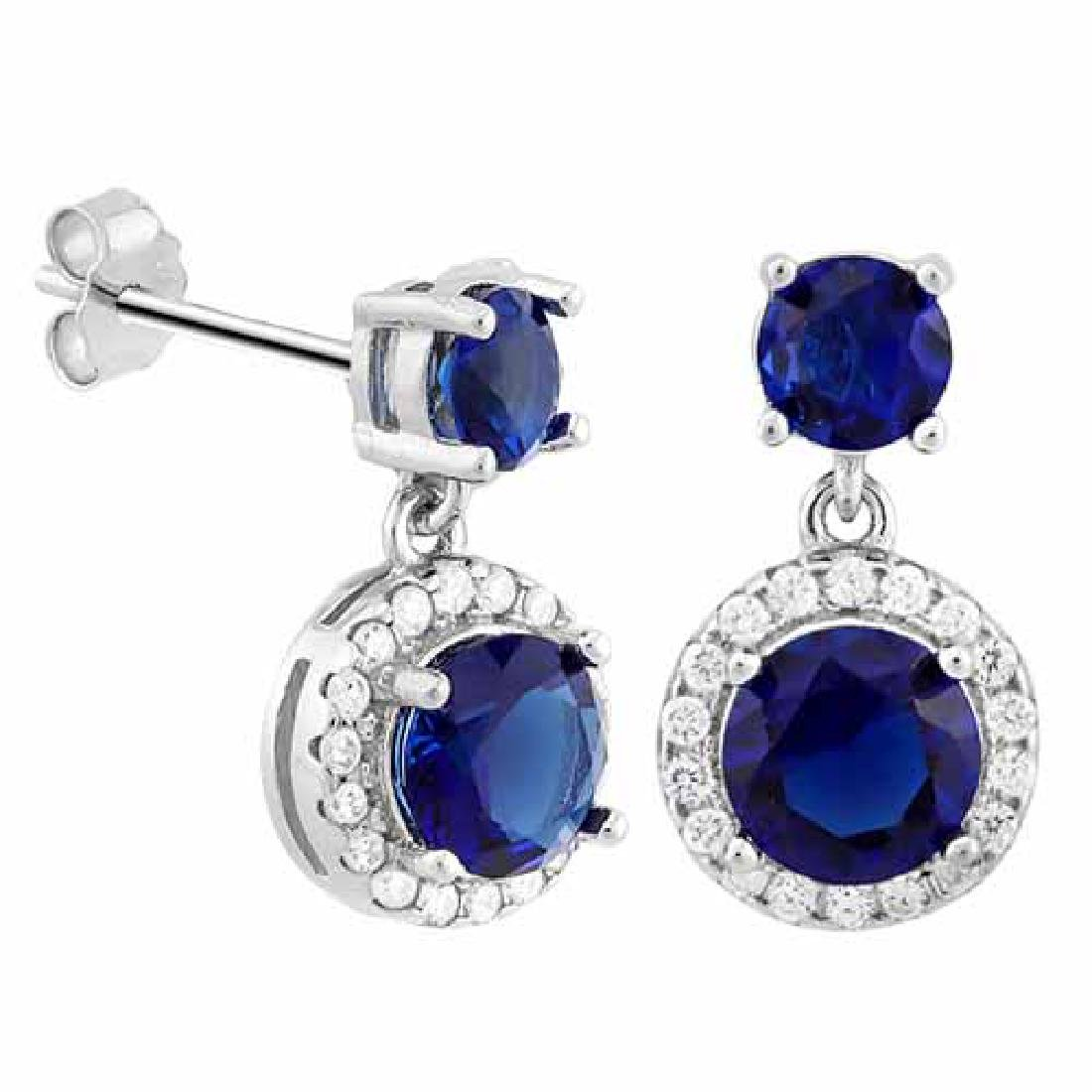 CREATED BLUE SAPPHIRE 925 STERLING SILVER EARRINGS
