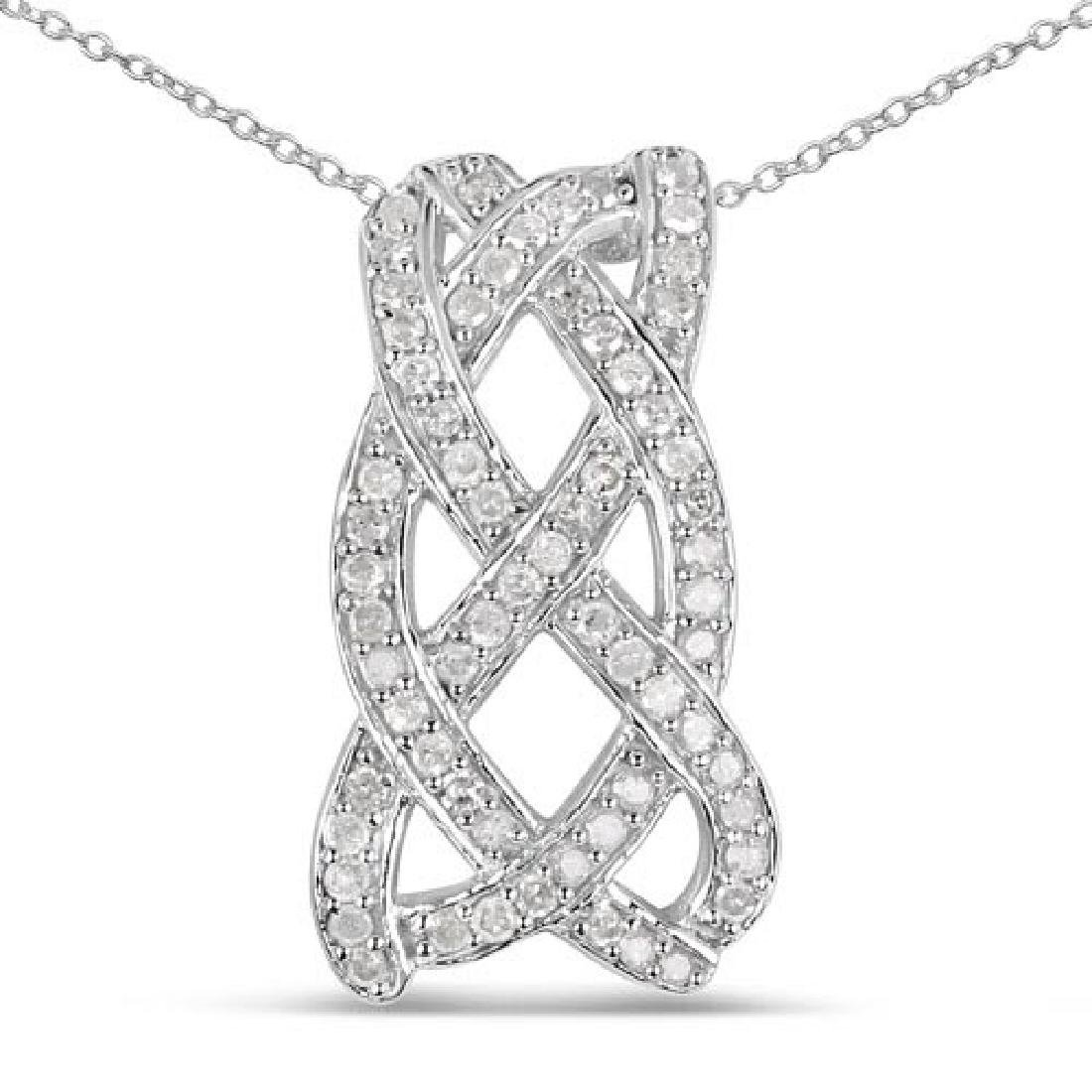 0.54 Carat Genuine White Diamond .925 Sterling Silver P