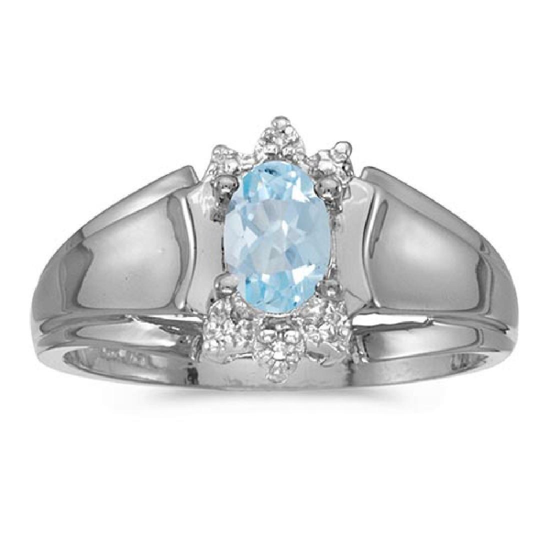 Certified 14k White Gold Oval Aquamarine And Diamond Ri