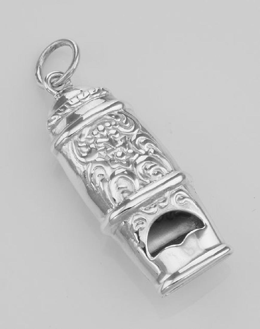 Antique Victorian Style Whistle Pendant - Sterling Silv