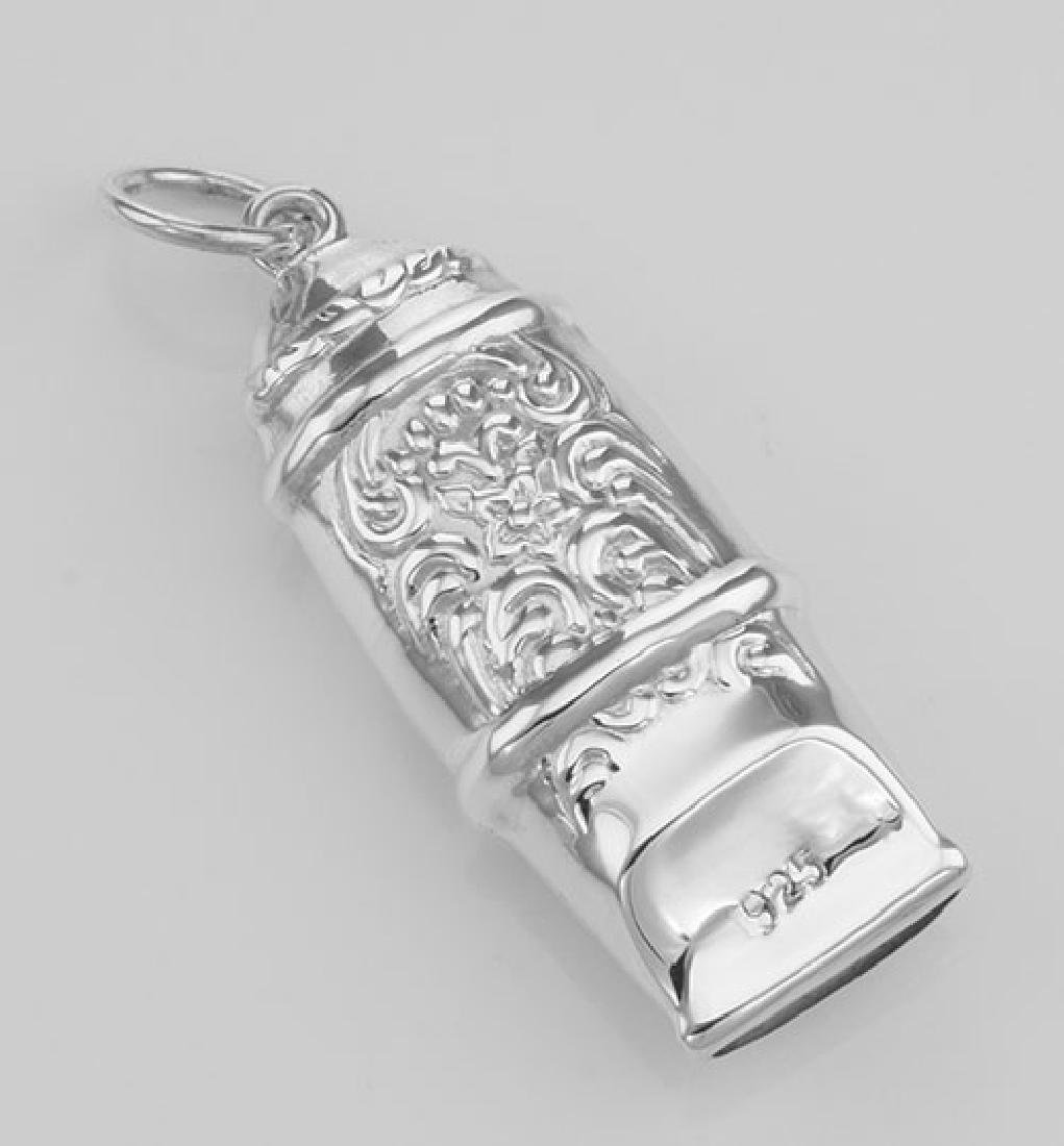 Antique Victorian Style Whistle Pendant - Sterling Silv - 2