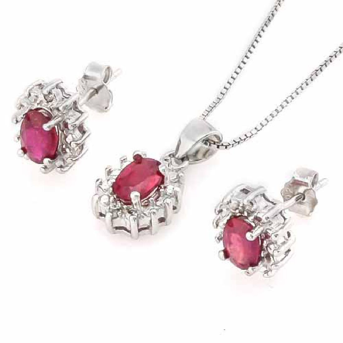 2 CARAT AFRICAN RUBY & DIAMOND 925 STERLING SILVER SET