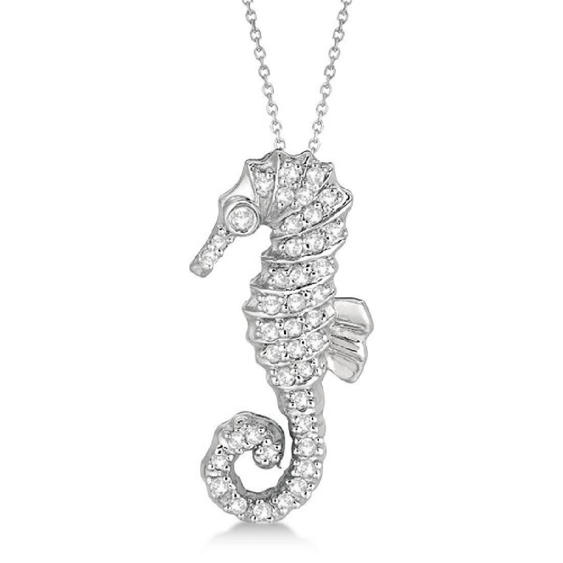 Diamond Seahorse Pendant Necklace 14k White Gold (0.29c