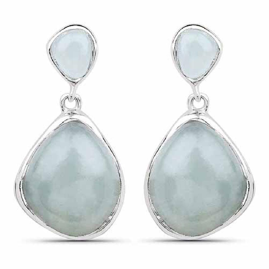 10.17 Carat Genuine Aquamarine .925 Sterling Silver Ear