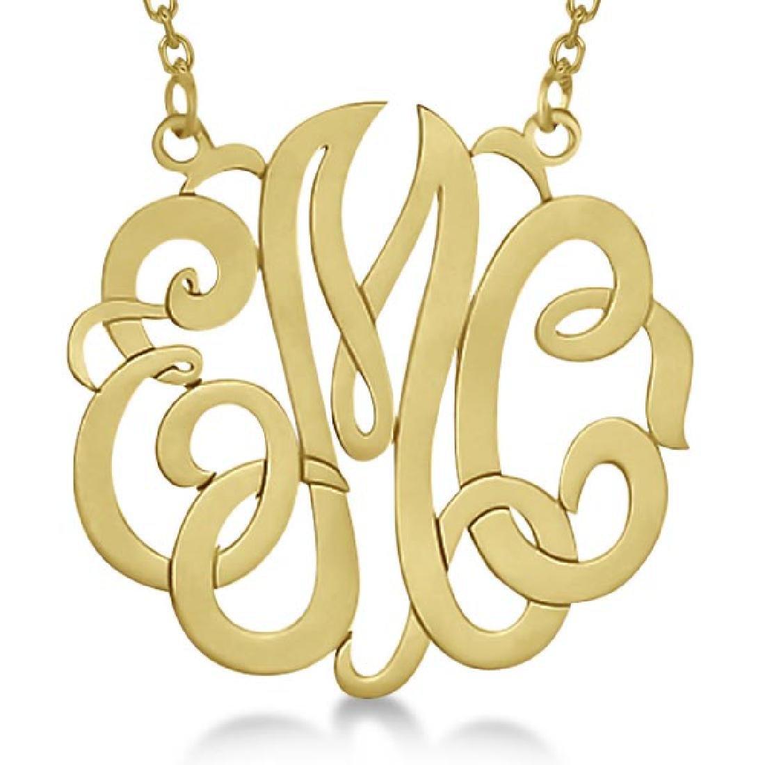 Personalized Monogram Pendant Necklace in 14k Yellow Go