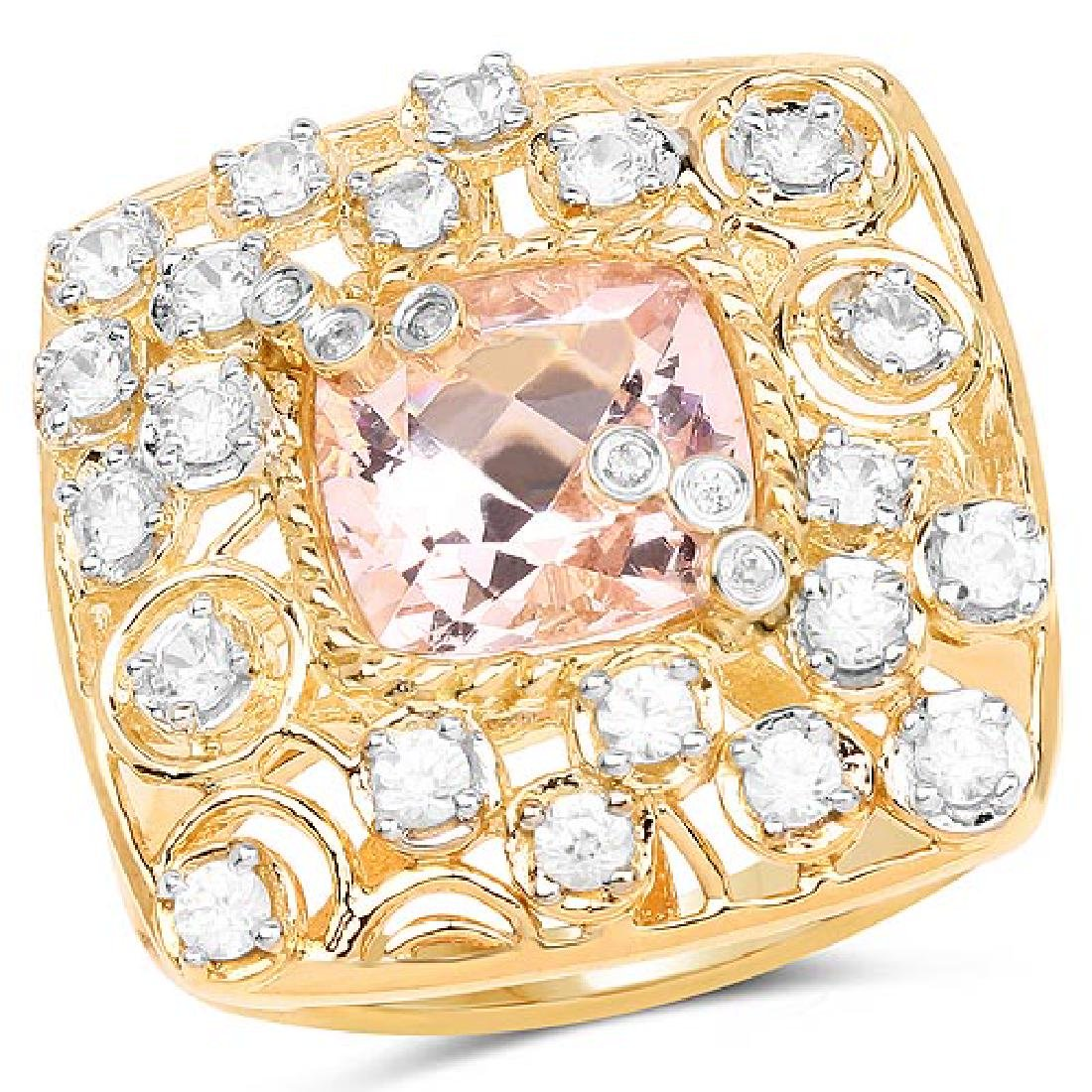 14K Yellow Gold Plated 3.33 Carat Synthartic Morganite