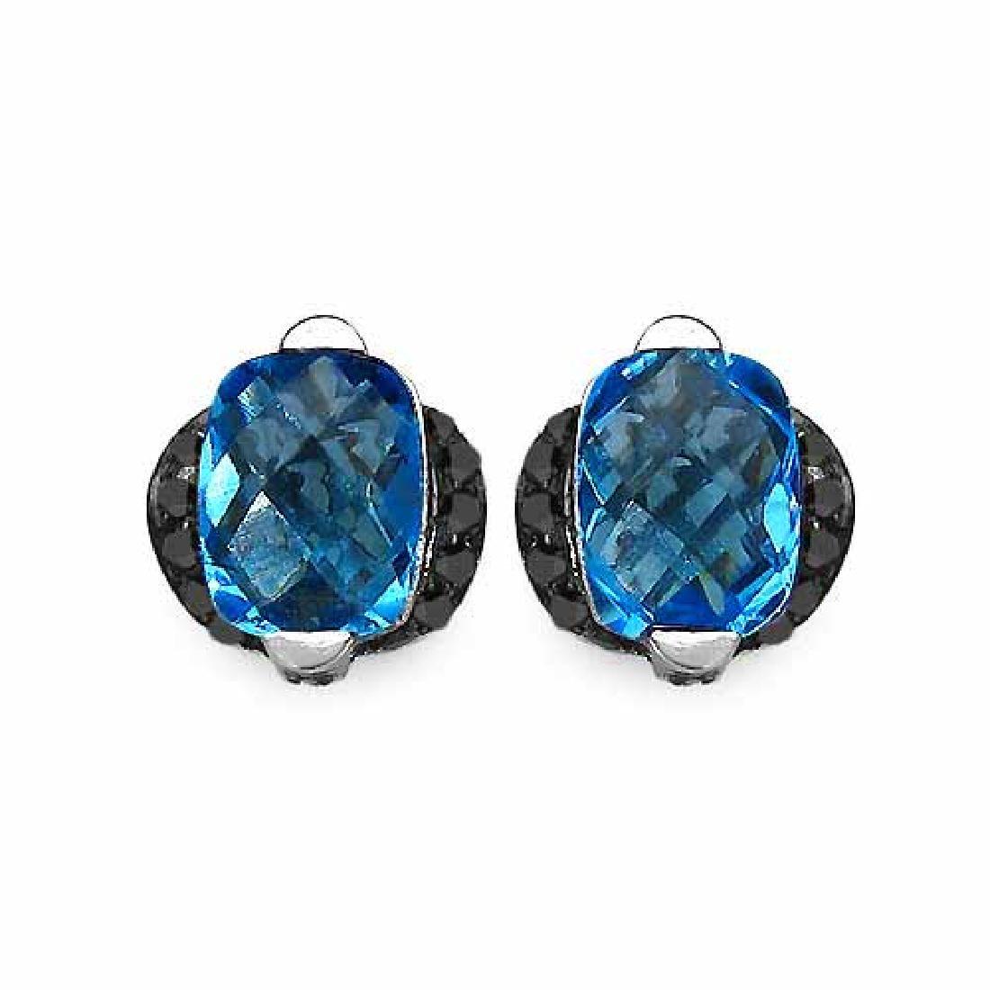 3.74 Carat Genuine Blue Topaz & Black Diamond .925 Stre