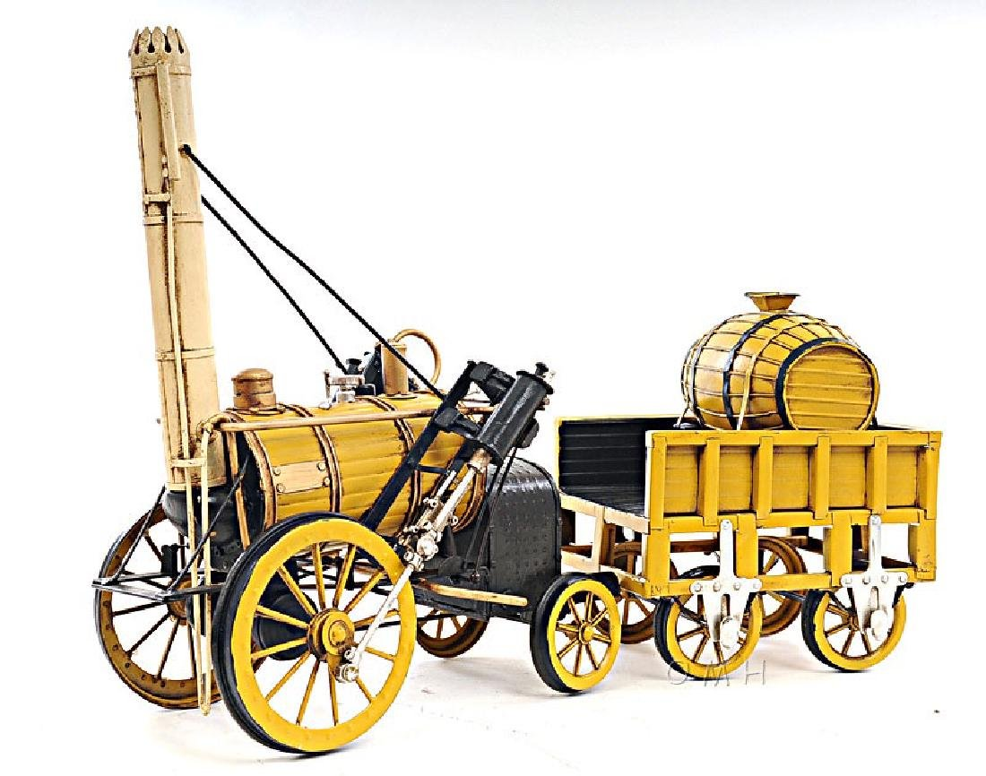 HAND MADE 1829 YELLOW STEPHENSON ROCKET STEAM LOCOMOTIV