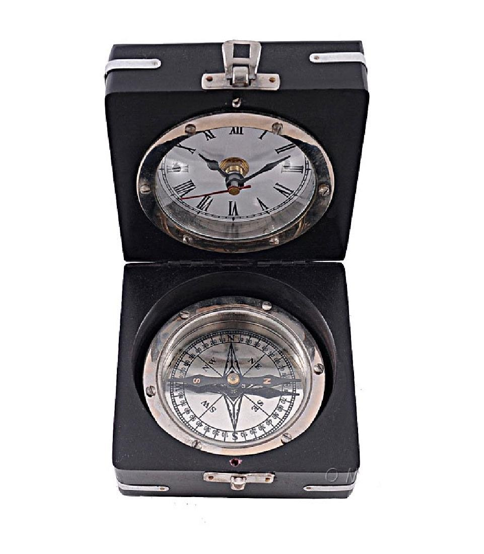 BRASS COMPASS AND CLOCK COMES W/WOODEN CASE