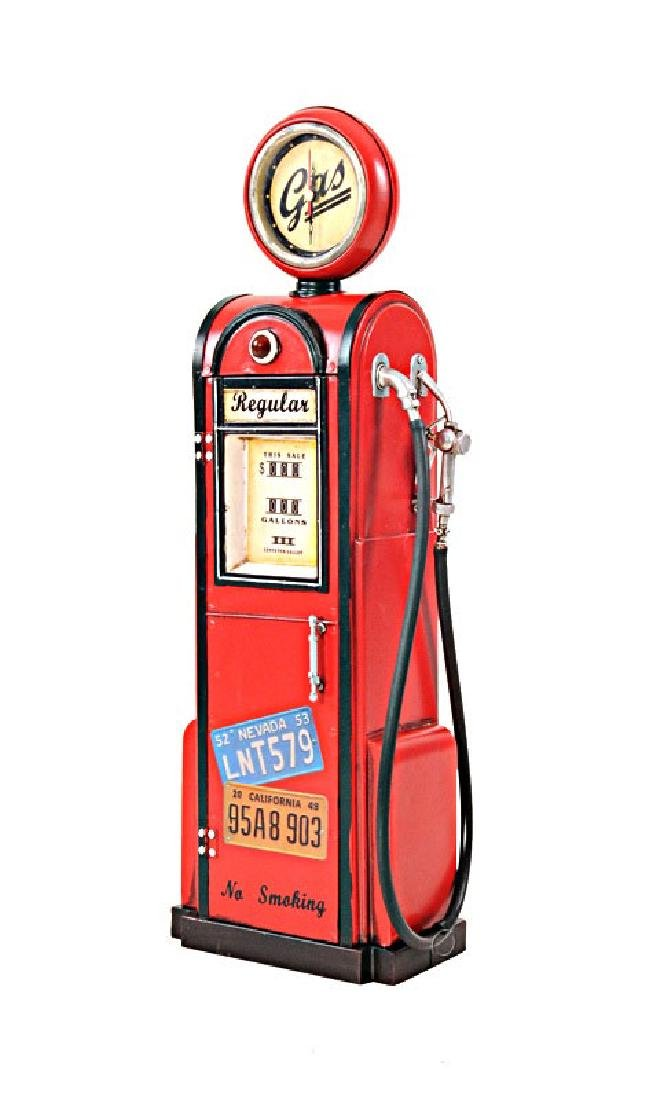 HAND MADE GAS PUMP W/CLOCK 1:4TH SCALE REPLICA