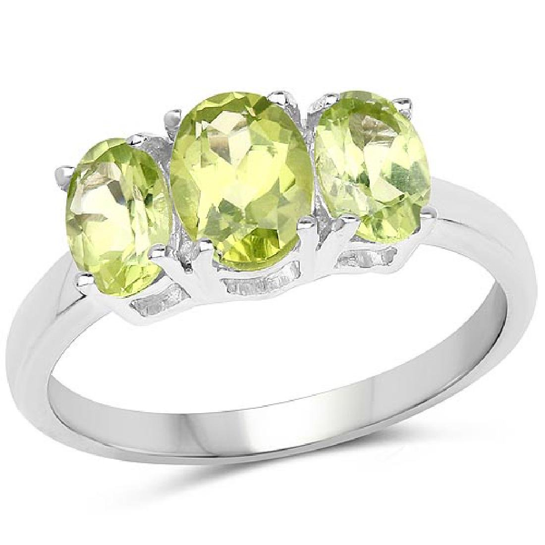 1.73 Carat Genuine Peridot .925 Sterling Silver Ring