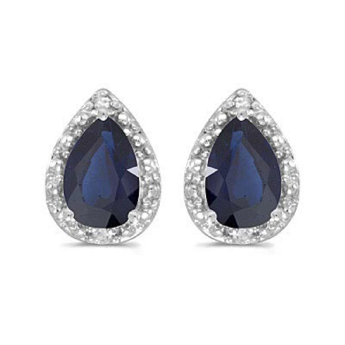 Pear Blue Sapphire and Diamond Stud Earrings 14k White