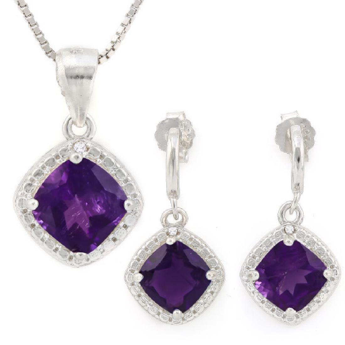 2 3/4 CARAT AMETHYSTS & GENUINE DIAMONDS 925 STERLING S