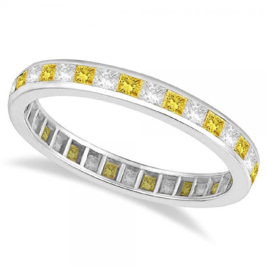 Princess-Cut Yellow and White Diamond Eternity Ring 14k