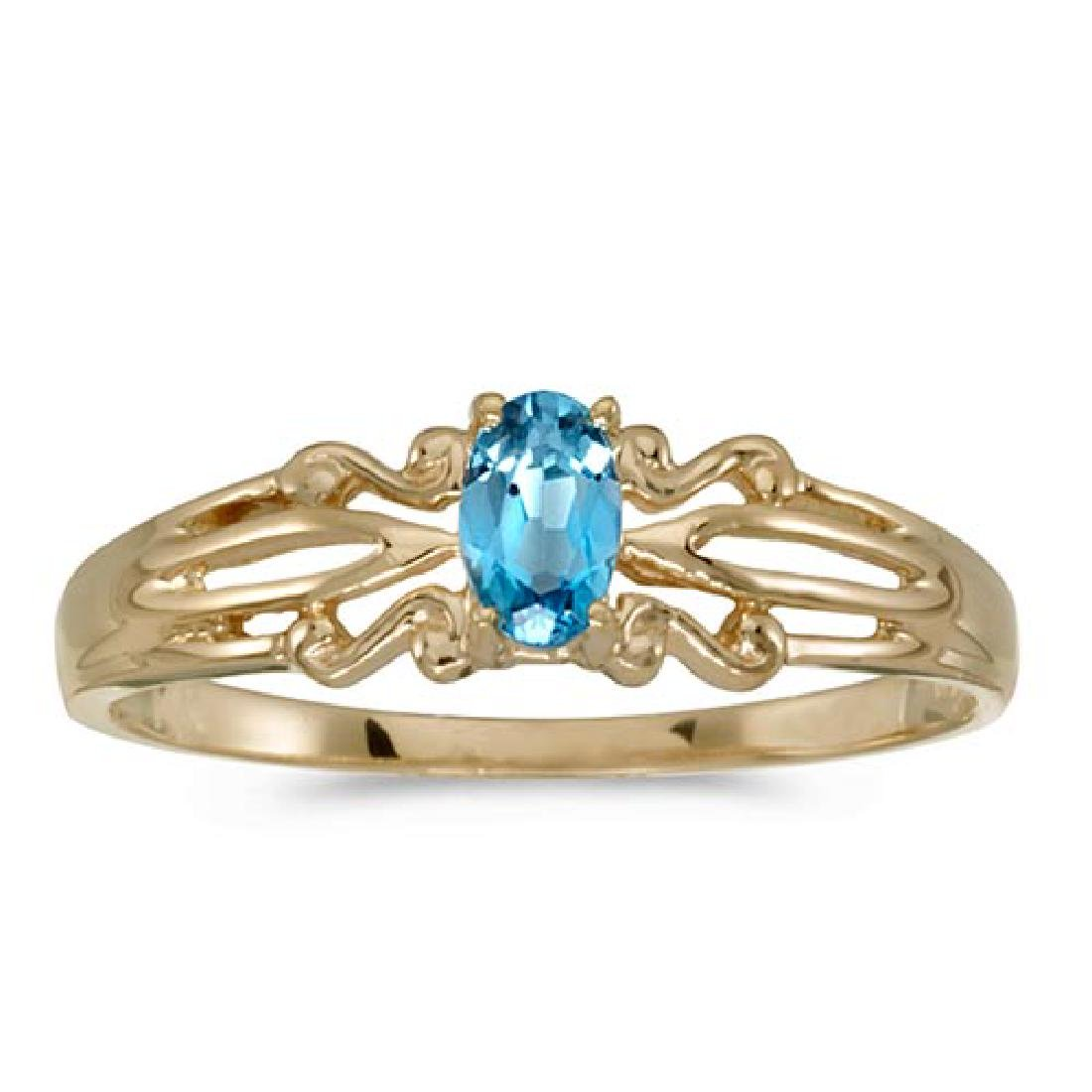 Certified 14k Yellow Gold Oval Blue Topaz Ring 0.19 CTW