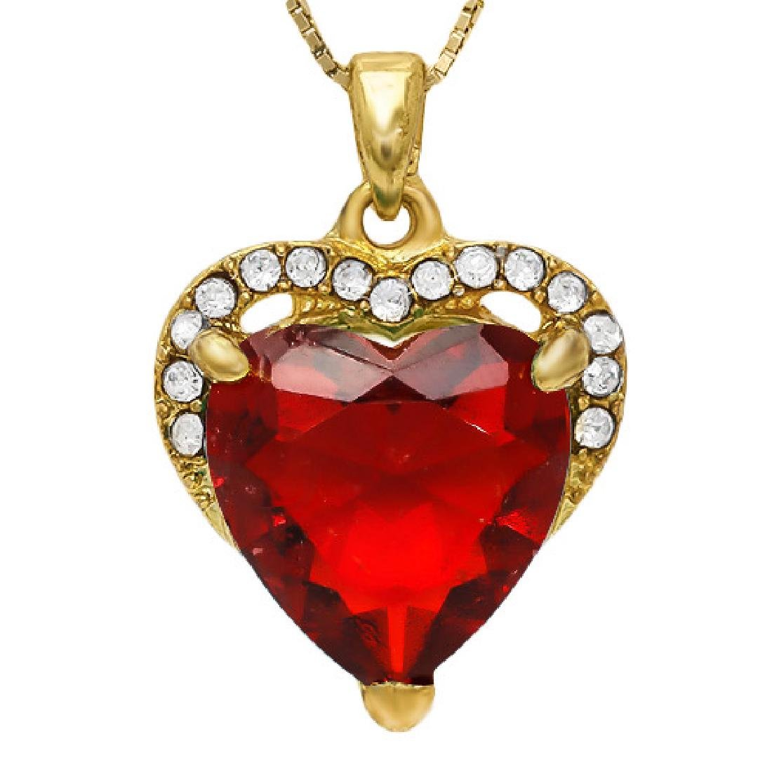CREATED RUBY & FLAWLESS CREATED DIAMOND 18K GOLD PLATED