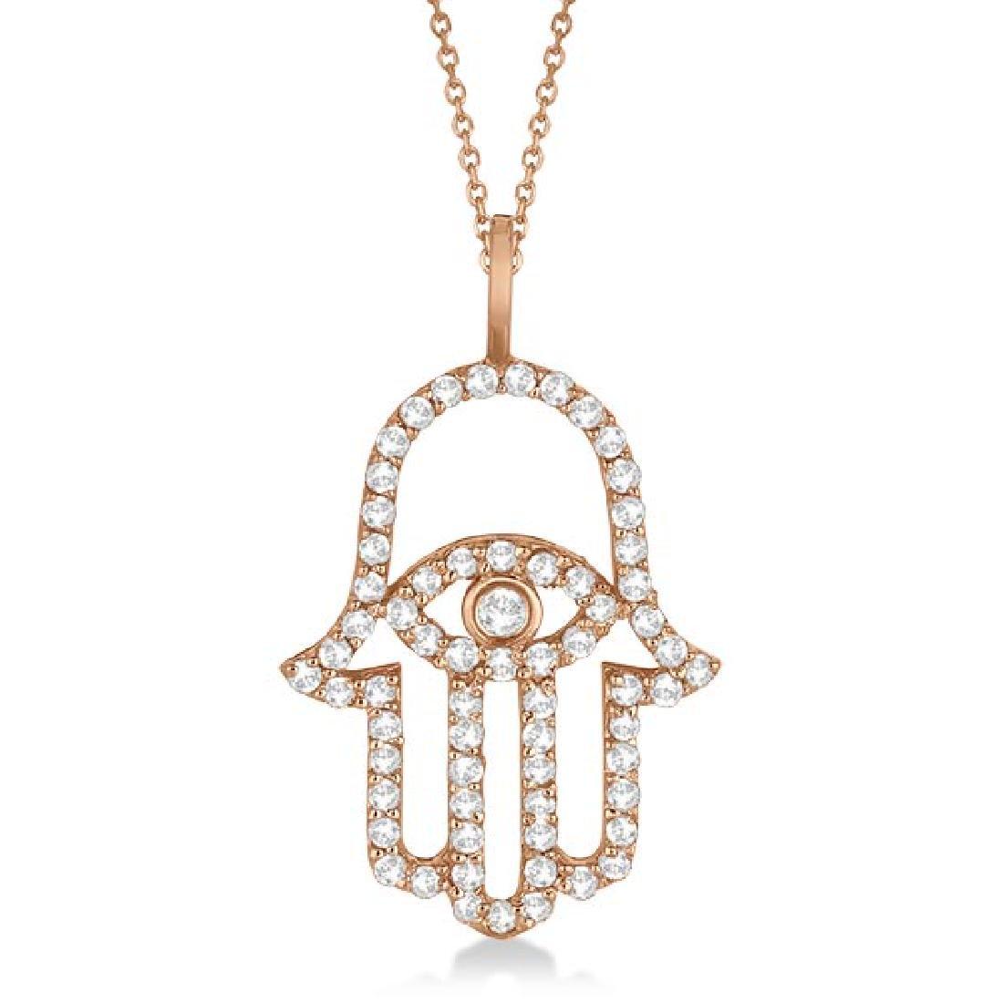 Diamond Hamsa Evil Eye Pendant Necklace 14k Rose Gold (