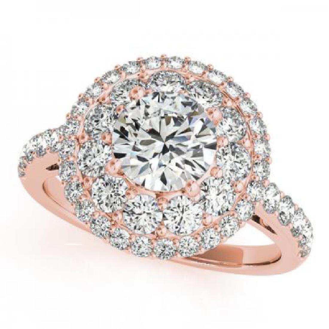 CERTIFIED 18K ROSE GOLD 1.34 CT G-H/VS-SI1 DIAMOND HALO