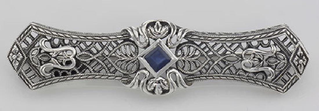 Art Deco Style Blue Sapphire Filigree Bar Pin / Brooch