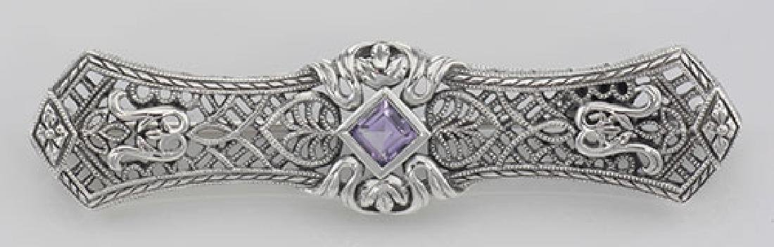 Art Deco Style Amethyst Filigree Bar Pin / Brooch - Ste