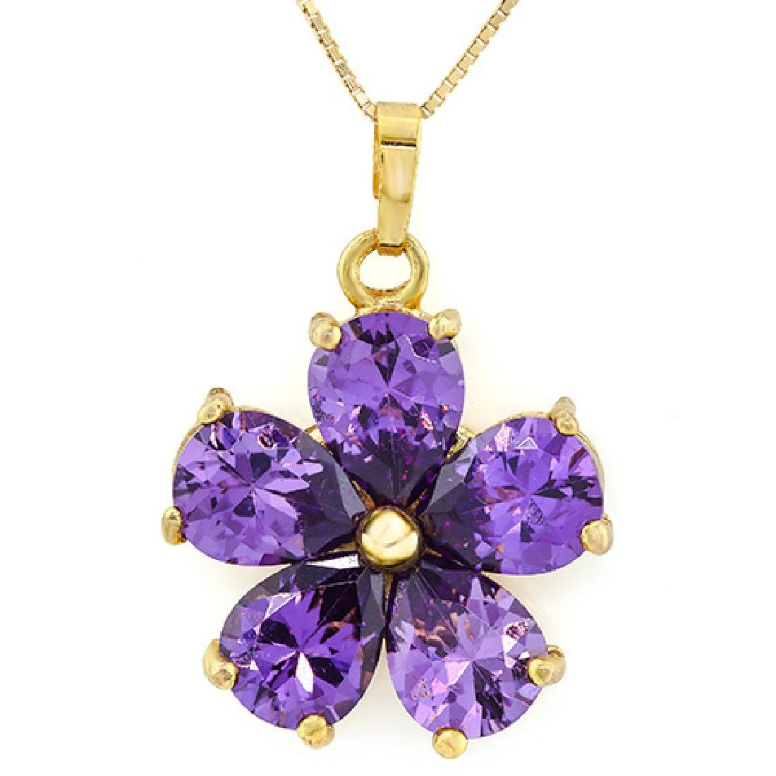 CREATED AMETHYST 18K GOLD PLATED GERMAN SILVER PENDANT
