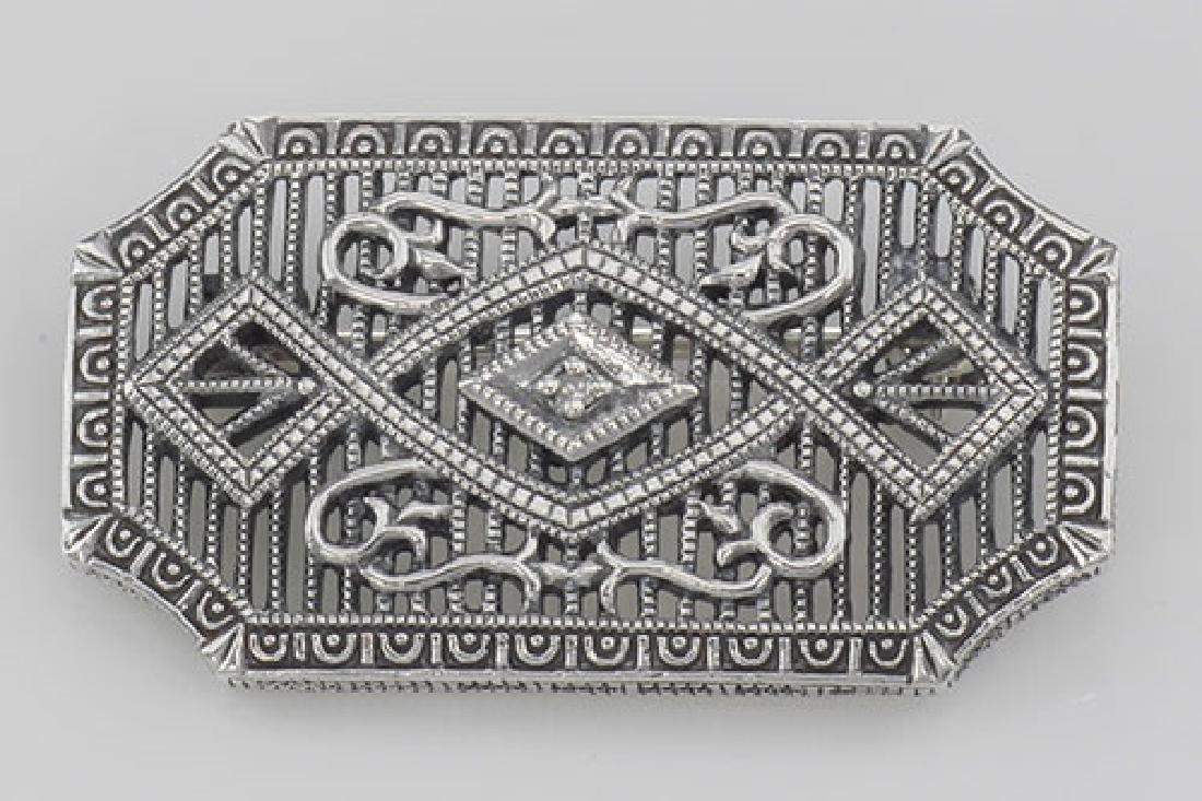 Art Deco Style Filigree Diamond Pin / Brooch - Sterling