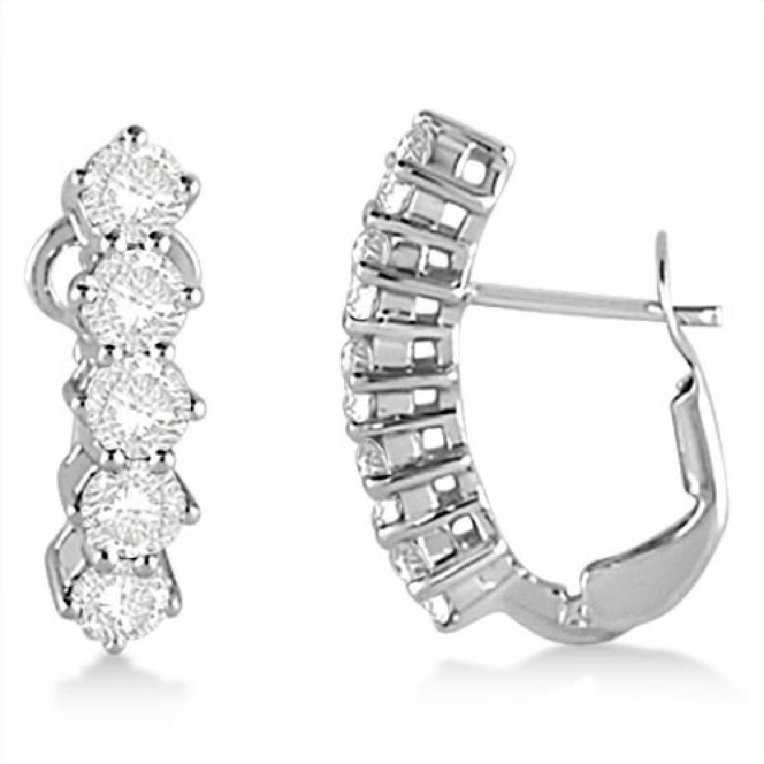 Five Stone Diamond Omega Earrings 14k White Gold (1.50c