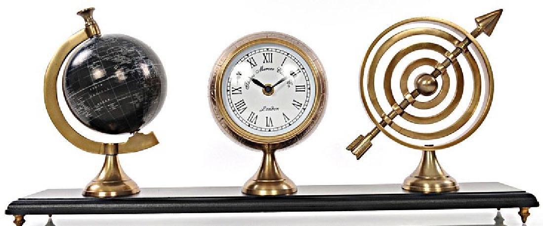 ARMILLARY CLOCK AND GLOBE ON WOODEN BASE