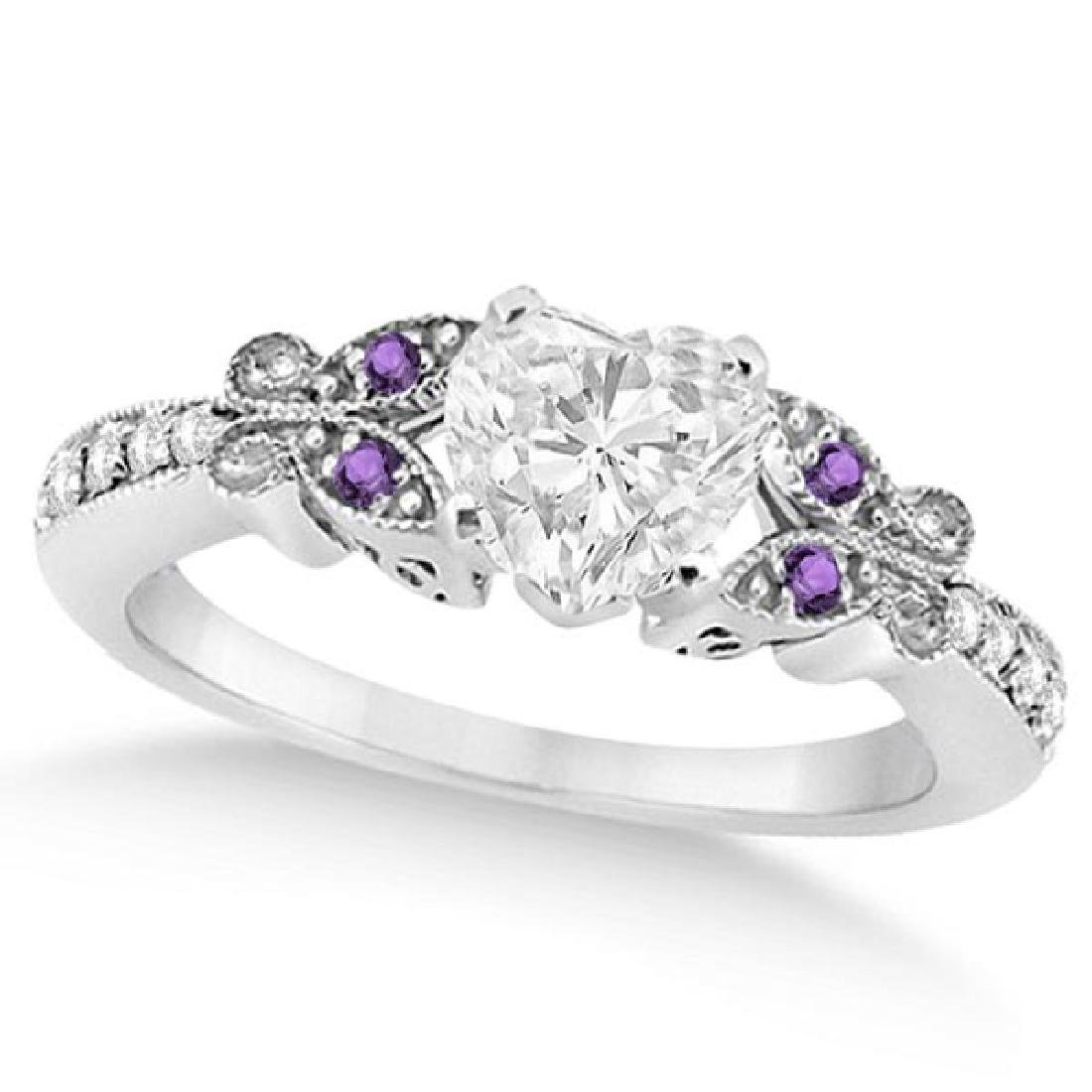 Heart Diamond and Amethyst Butterfly Engagement Ring 14