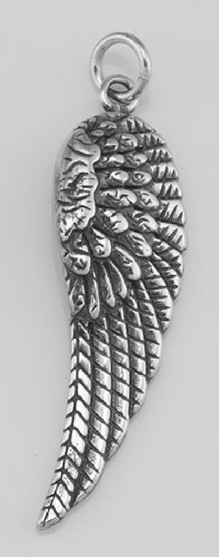 Angel Wing Charm - Pendant - Left Side - In Fine Sterli