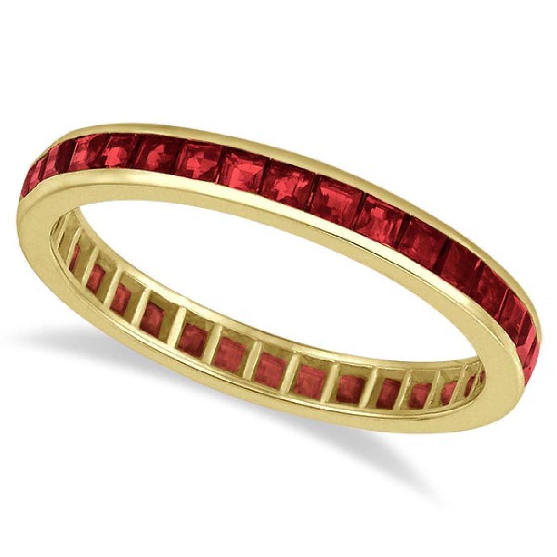Princess-Cut Garnet Eternity Ring Band 14k Yellow Gold