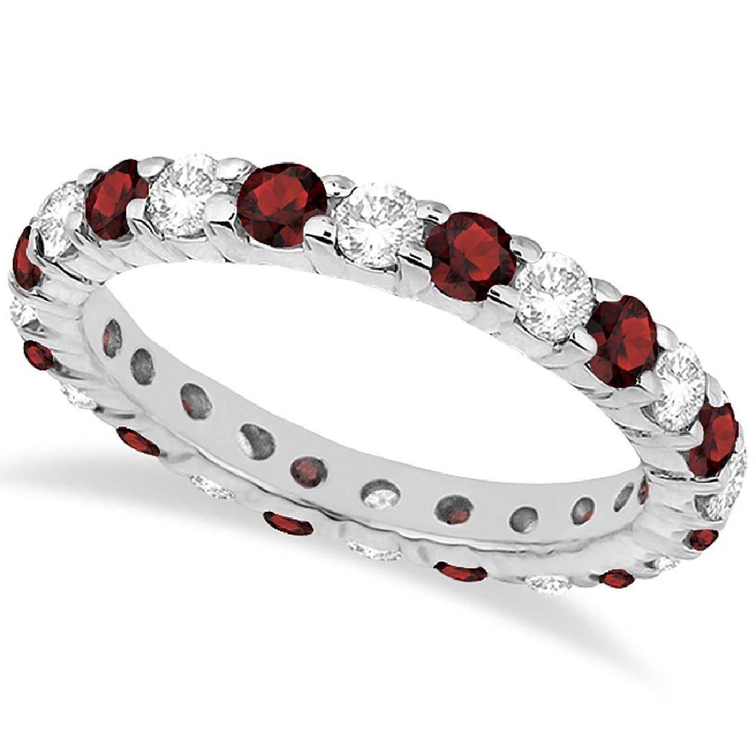 Eternity Diamond and Garnet Ring Band 14k White Gold (2