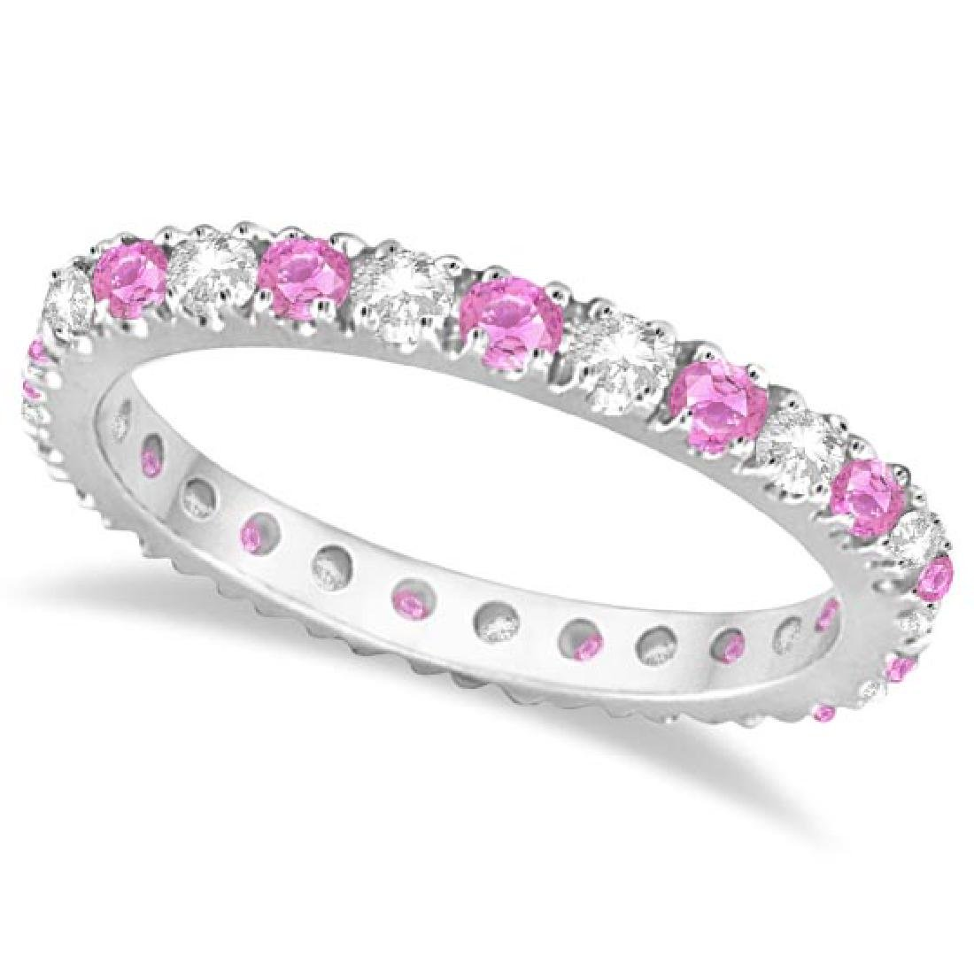 Diamond and Pink Sapphire Eternity Ring Stackable 14k W