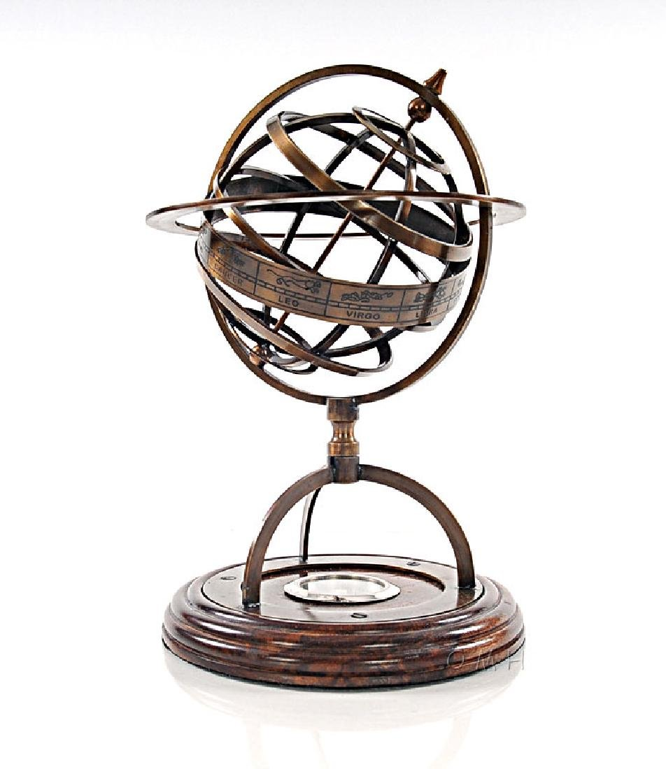 BRASS ARMILLARY W/COMPASS ON WOODEN BASE