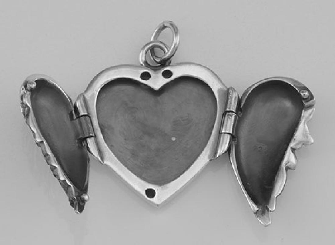 Beautiful Angel Wings Heart Locket In Fine Sterling Sil - 2