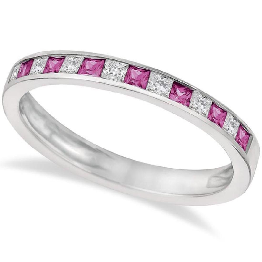 Princess Cut Diamond and Pink Sapphire Ring Band 14k Wh