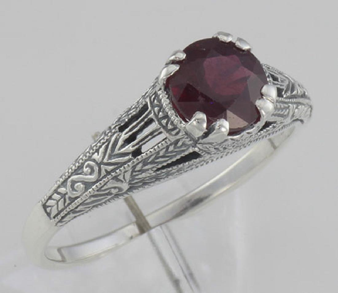 Natural Ruby Filigree Ring - Sterling Silver