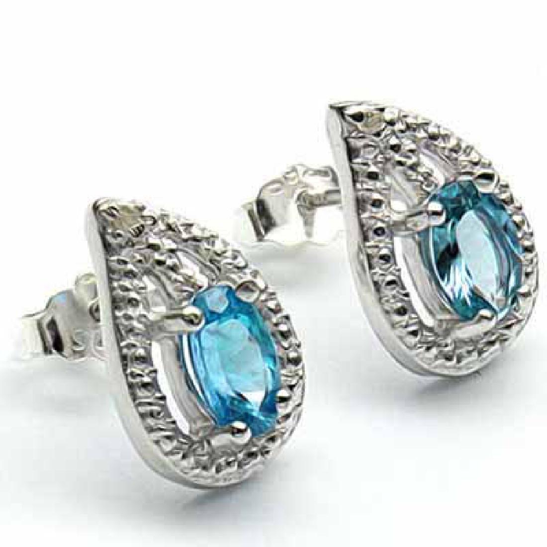 1 CARAT BABY SWISS BLUE TOPAZ & DIAMOND 925 STERLING SI