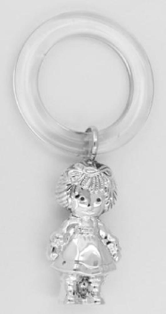 Sterling Silver Rattle - Raggedy Ann Teething Ring