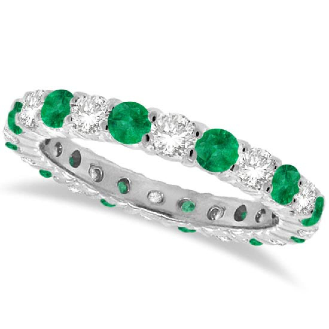 Emerald and Diamond Eternity Ring Band 14k White Gold (